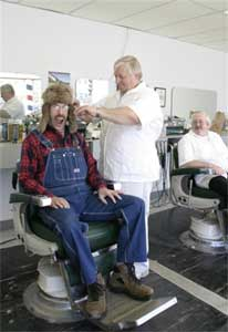 Bufford gets his hair cut.