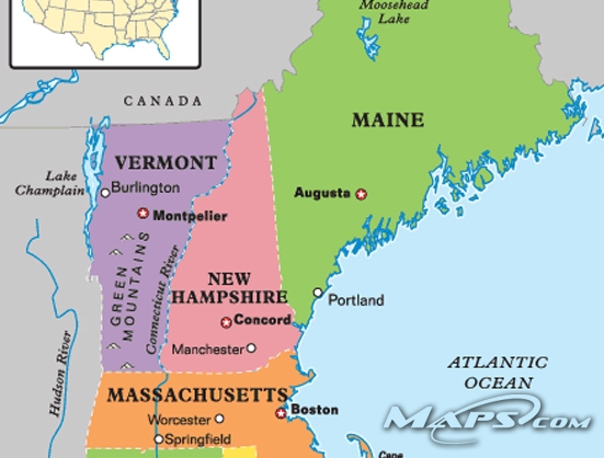 New England Travel Maine New Hampshire Vermont – Maine Travel Map