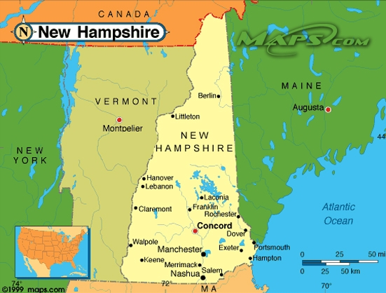United States Map New Hampshire