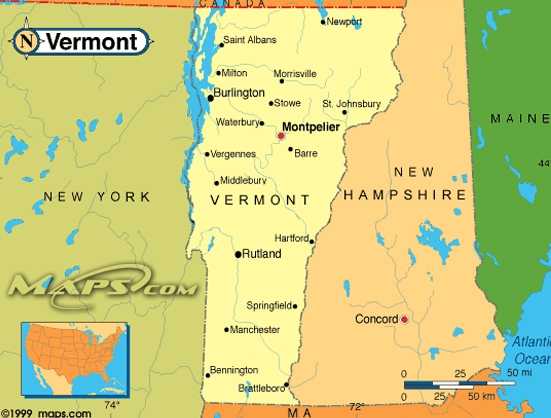 Maps Us Map Vermont - Vermont political map