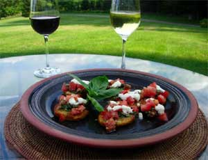 Bruchetta, made with greenhouse grown tomatoes.  Click here for more recipes...