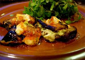 Eggplant with Goat Cheese and Pesto.  Click here for more recipes..