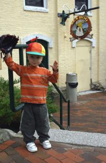 Author's three-year-old son in front of SeaDog Brewing Company
