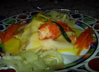 Poached Lobster Wrapped in White Wine Pasta with Lemon Beurr Blanc